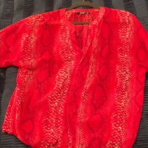 Hot pink snake print sheer top with 3/4 sleeves